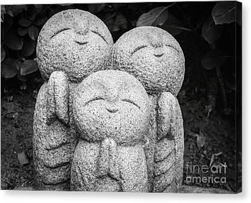 Three Happy Buddhas II Canvas Print by Dean Harte