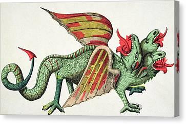 Breathing Canvas Print - Three Headed Dragon Spitting Fire by German School