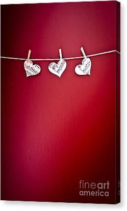Clothes Line Canvas Print - Three Hearts by Jan Bickerton