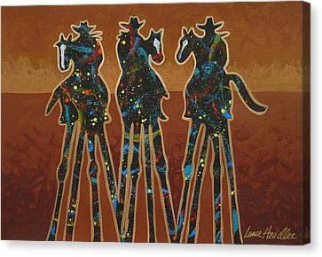 Houston Cowgirl Canvas Print - Three In Brown by Lance Headlee