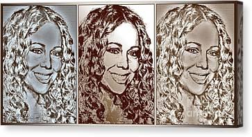 Three Interpretations Of Mariah Carey Canvas Print by J McCombie