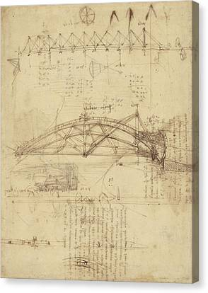 Three Kinds Of Movable Bridge Canvas Print by Leonardo Da Vinci