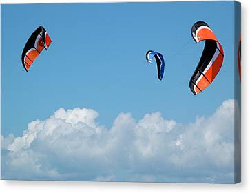 Three Kite Boarding Kites At The 2007 Barmouth Kite Festival Canvas Print by Rob Huntley