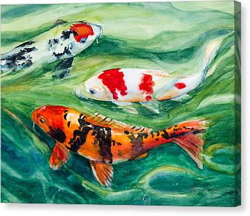 Three Koi Canvas Print by Patricia Allingham Carlson