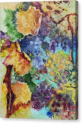 Canvas Print featuring the painting Three Leaves by Karen Fleschler