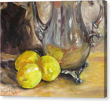 Canvas Print featuring the painting Three Lemons by Gloria Turner