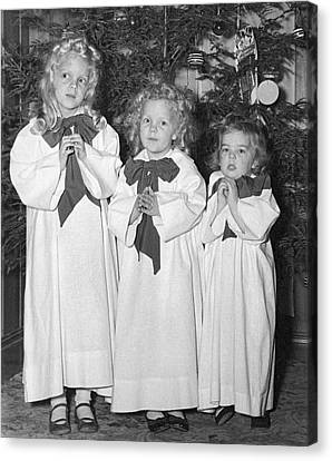Three Little Angels Canvas Print by Underwood Archives