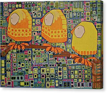 Canvas Print featuring the painting Three Little Birds by Donna Howard