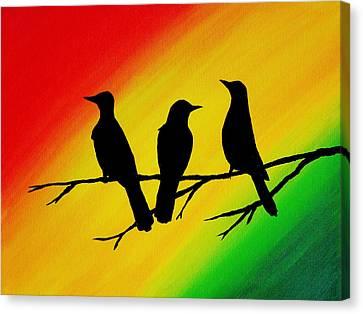 Three Little Birds Original Painting Canvas Print by Michelle Eshleman