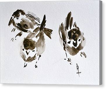 Three Little Birds Perch By My Doorstep Canvas Print by Beverley Harper Tinsley