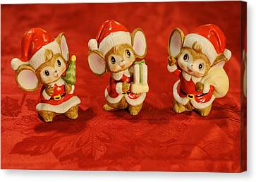 Three Little Christmas Mice Canvas Print by Luke Moore