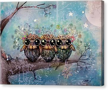 Three Little Night Owls Canvas Print by Karin Taylor
