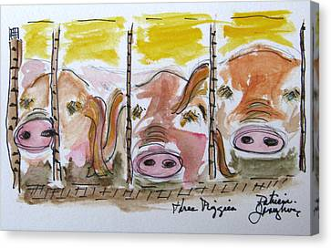 Canvas Print featuring the painting Three Little Pigs by Patricia Januszkiewicz
