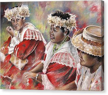 Three Mamas From Tahiti Canvas Print by Miki De Goodaboom