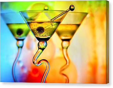 Three Martinis With Colorful Background Canvas Print by Judy Kennamer