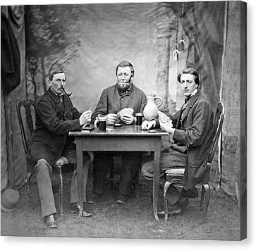 1880s Canvas Print - Three Men Playing Cards by Underwood Archives