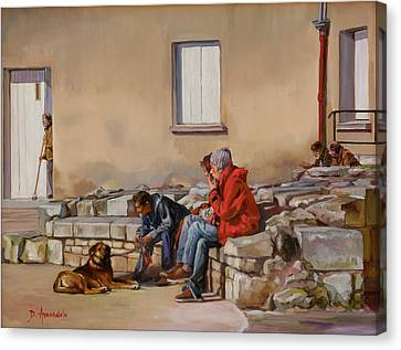 Three Men With A Dog Canvas Print by Dominique Amendola