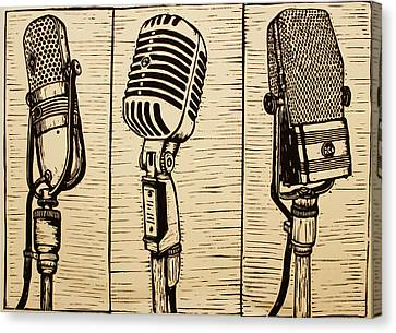 Three Microphones Canvas Print by William Cauthern