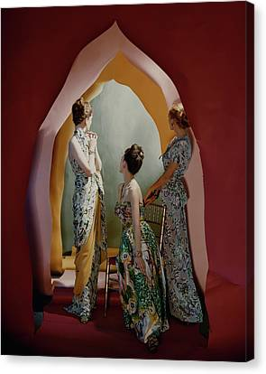 Three Models Wearing Patterned Dresses Canvas Print by Cecil Beaton