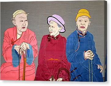 Three Mongolians Canvas Print by Leslie Rinchen-Wongmo