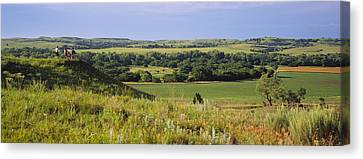 Courage Canvas Print - Three Mountain Bikers On A Hill by Panoramic Images