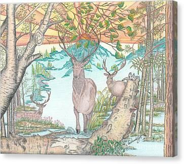 Three Mule Deer At Daybreak In Olor Canvas Print by Carolann Van de Ligt