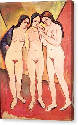 Three Naked Girls Canvas Print by August Macke