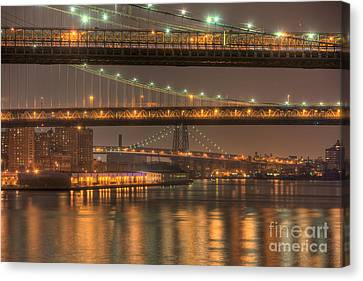 South Street Seaport Canvas Print - Three New York Bridges by Clarence Holmes