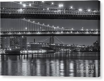 South Street Seaport Canvas Print - Three New York Bridges II by Clarence Holmes