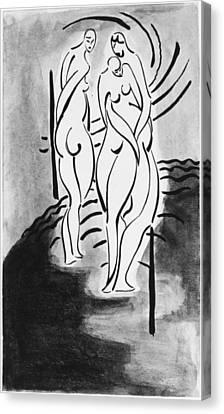 Three Nudes Canvas Print by John Bernard Flannagan