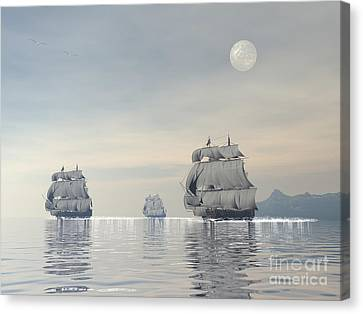 Three Old Ships Sailing In The Ocean Canvas Print by Elena Duvernay