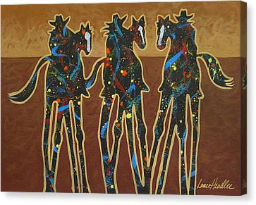 Houston Cowgirl Canvas Print - Three On The Trail by Lance Headlee
