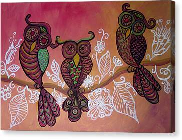 Canvas Print - Three Owls by Cherie Sexsmith