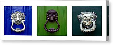 Three Panel Door Knockers Canvas Print by Tony Grider