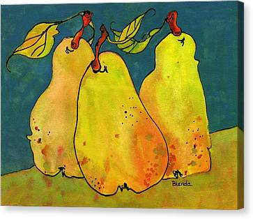 Blendastudio Canvas Print - Three Pears Art  by Blenda Studio