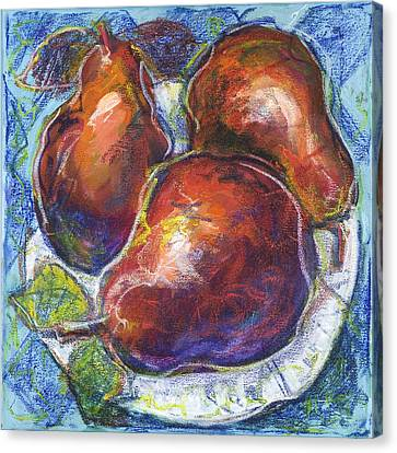Three Pears On A White Plate Canvas Print