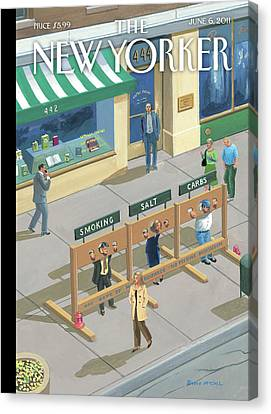Three People In Stocks Which Read: Smoking Canvas Print by Bruce McCall