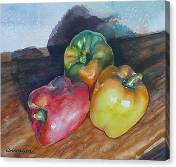 Three Peppers Canvas Print by Anne Gifford