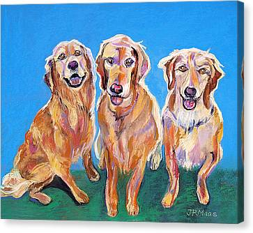 Canvas Print featuring the pastel Three Playful Goldens by Julie Maas