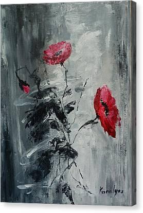 Three Poppies Canvas Print by Maria Karalyos