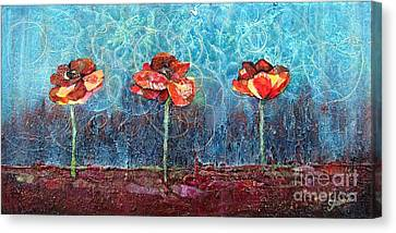 Three Poppies Canvas Print by Shadia Derbyshire