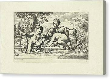 Three Putti Playing With A Dog, Anonymous Canvas Print by Litz Collection