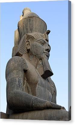 Pharaoh Canvas Print - Three Quarter View Sculpture Of Pharaoh by Linda Phelps