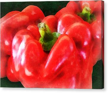 Three Red Peppers Canvas Print by Susan Savad