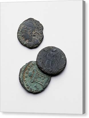 Three Roman Coins Canvas Print