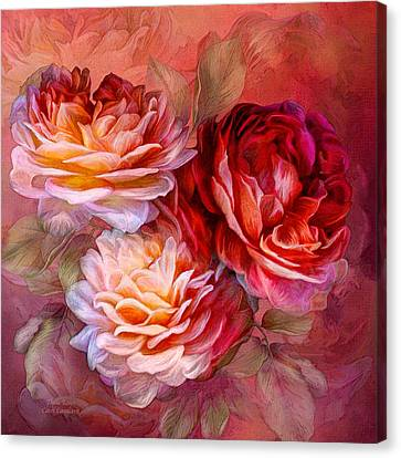 Canvas Print featuring the mixed media Three Roses - Red by Carol Cavalaris
