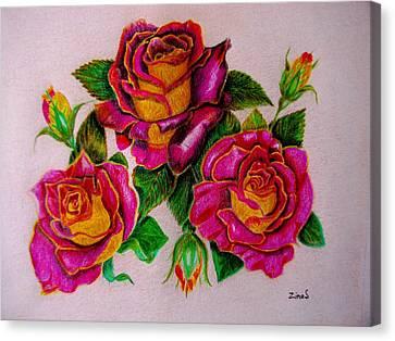 Three Roses Canvas Print by Zina Stromberg