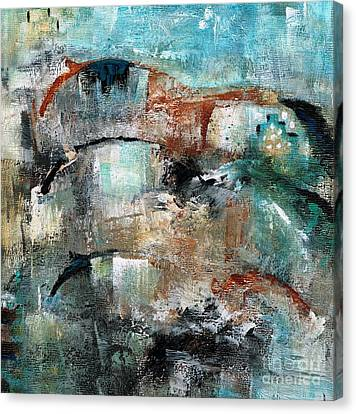 Abstract Equine Canvas Print - Three Running Horses by Frances Marino