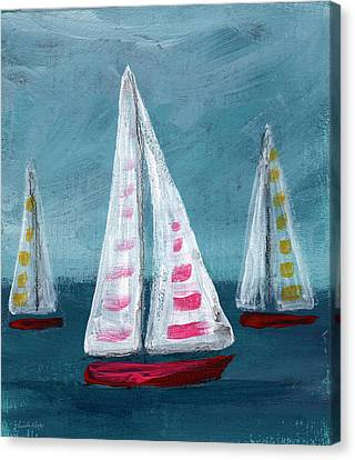 Three Sailboats Canvas Print by Linda Woods