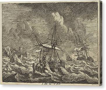 Three Sailing Ships In A Storm Near A Rocky Shore Canvas Print